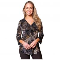 Sno Skins Burnout Stretch Velvet V-Neck Top - Women's