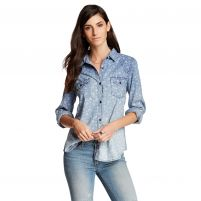 Dylan  Distressed Floral Long Sleeve Shirt - Women's