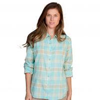 Purnell  Aquamarine Madras Plaid Shirt - Women's