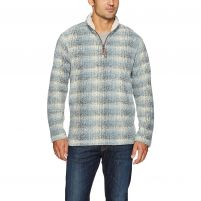 True Grit Melange Shadow Plaid Quarter-Zip Pullover - Men's