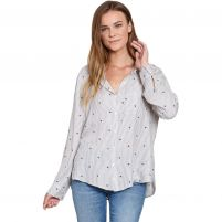 Dylan Heart Stripe Soft Long Sleeve Shirt  - Women's