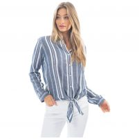 Dylan Woven Stripe Tie Top - Women's