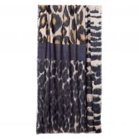 Kinross Cashmere Melange Animal Print Scarf - Women's