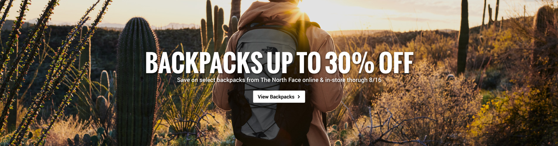 Save 30% off select backpacks from The North Face online and in-store through 8/16