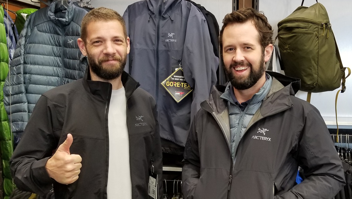 Andrew and Nathan in Arc'teryx